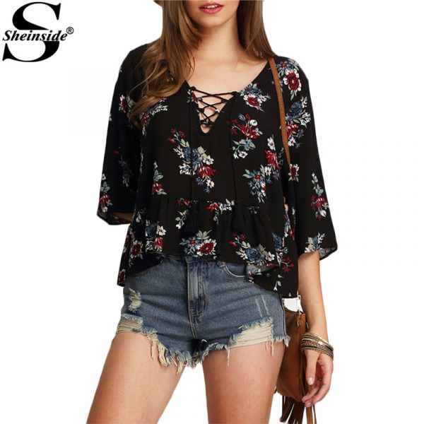 Sheinside-Half-Sleeve-Lace-Up-Floral-Print-Tops-Summer-Style-Vintage-Woman-Shirts-New-Arrival-2016-1