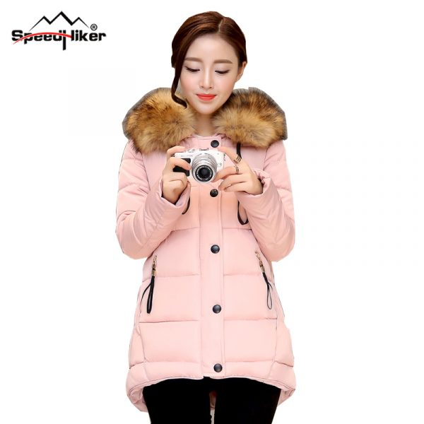 Speed-Hiker-2016-New-Women-s-Autumn-winter-cotton-padded-jacket-coat-female-Faux-Fur-collar-1