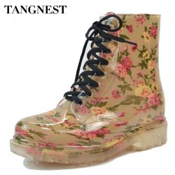 Tangnest-2016-Women-s-Rain-Boots-Spring-Round-Toe-Rubber-Shoes-Floral-Leopard-Lace-Up-Ankle-1