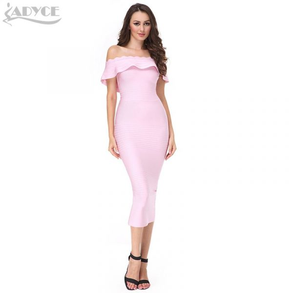 2016-New-pink-Off-The-Shoulder-strapless-Bandage-Dress-blue-Red-Bodycon-Elegant-Luxury-Noble-party-1