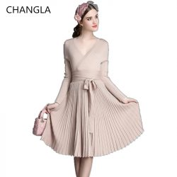 CHANGLA-2016-Autumn-Women-s-Fashion-Sweaters-Dresses-A-line-Deep-V-Neck-Belted-Pleated-Vintage-1