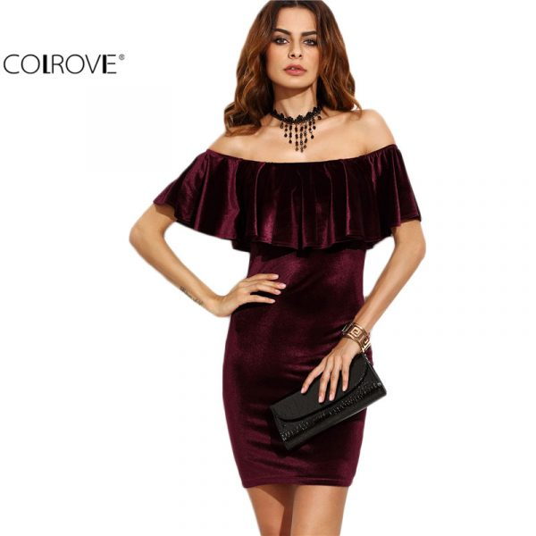 COLROVE-Ruffle-Off-The-Shoulder-Velvet-Bodycon-Dress-Sexy-Women-Short-Sleeve-Club-Wear-Mini-Dress-1