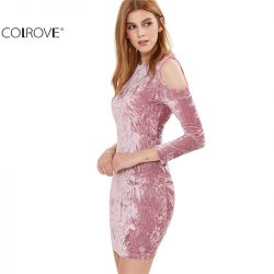 COLROVE-Womens-Sexy-Dresses-Party-Night-Club-Dress-Sexy-Dress-Club-Wear-Pink-Cold-Shoulder-Crushed-1
