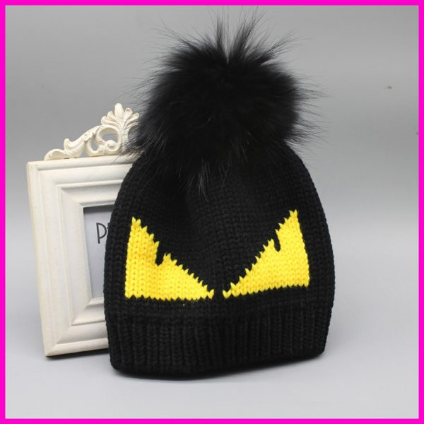 FURANDOWN-Winter-Hats-2016-Fashion-Brand-Fur-Pompoms-Hat-Cap-For-Women-Devil-Pattern-Knitted-Skullies-1