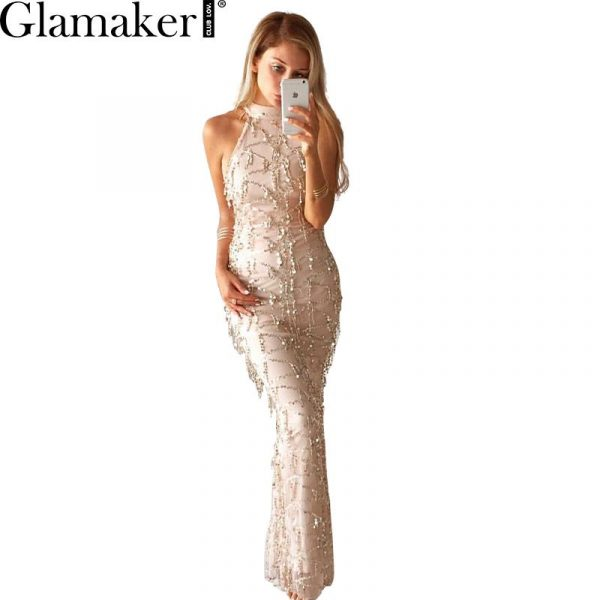Glamaker-Sexy-high-neck-sleeveless-summer-dress-2016-new-women-fashion-sequin-dress-Elegant-party-long-1