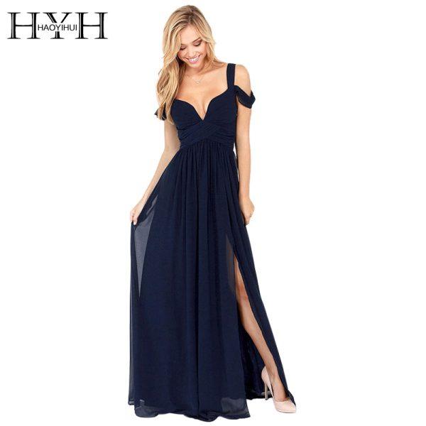 HAOYIHUI-2016-Brand-New-Summer-Floor-Length-Solid-Dinner-Sexy-Dress-Side-Slit-V-Neck-Off-1