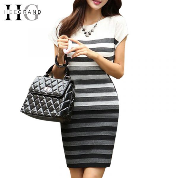 HEE-GRAND-2016-Spring-Women-Casual-Dress-Fashion-Striped-Short-Sleeve-O-Neck-Gradient-Knitting-Dresses-1