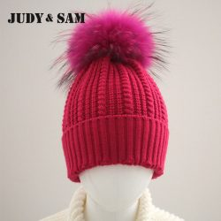 JS-FUR-Brand-Wool-Blend-Girls-Hat-Warm-Winter-with-Genuine-Dyed-Raccoon-Fur-Pom-Poms-1