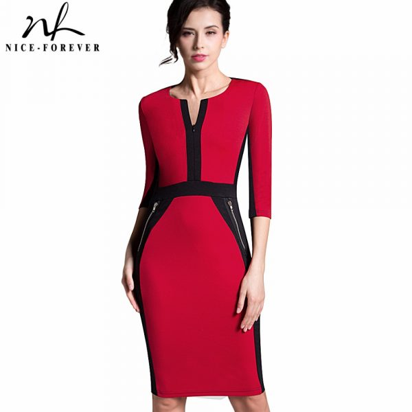 Nice-forever-Office-Women-Zipper-special-New-Arrival-Plus-Size-fashion-patchwork-V-neck-formal-work-1