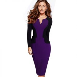 Professional-Women-Autumn-Casual-Work-Business-Elegant-V-Shaped-Cutout-Neckline-Colorblock-Contrasting-Bodycon-Dresses-EB342-1
