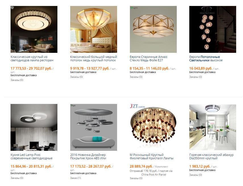 классические светильники на потолок